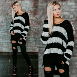 Striped Popcorn Sweater